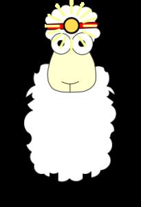 Schaf mit Stirnlampe
